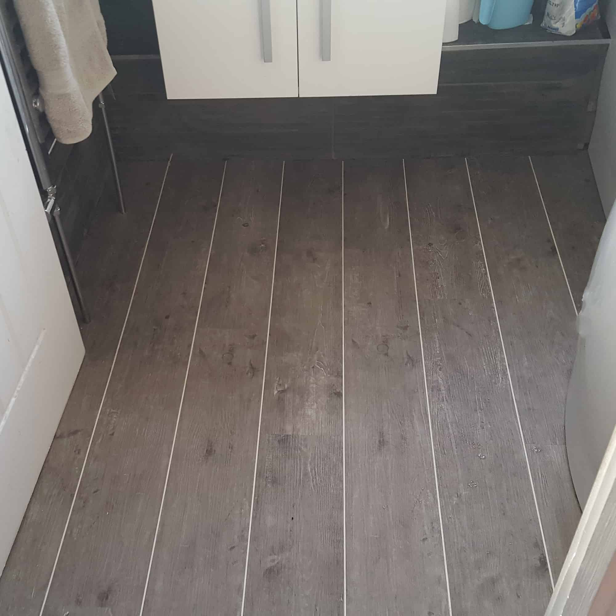 Dark wood effect flooring