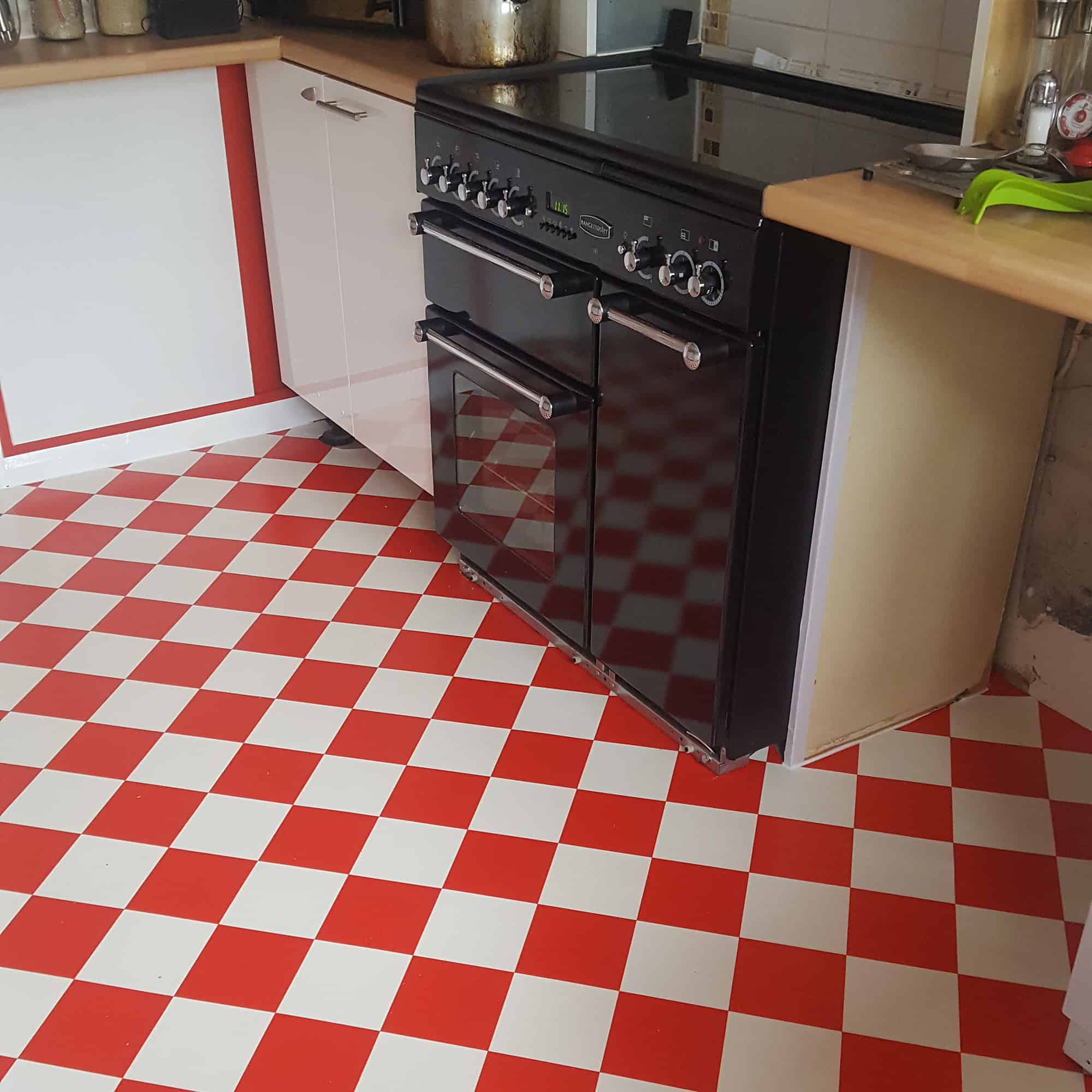 LVT Flooring in red and white